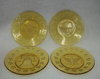 Vintage Anchor Hocking Amber Bicentennial Plates - Set of 4 - Unused in Box