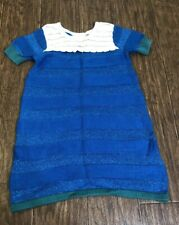 Hanna Andersson dress size 110 (5) short sleeve Blue Green Shinny