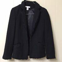 H&M Women's Sz 2 Open Front Jacket Black Wool Blend Long Sleeve Fringe Blazer