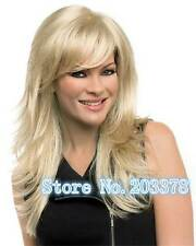 HELLOJF1352 new vogue long blonde straight bangs natural hair wig wigs for women