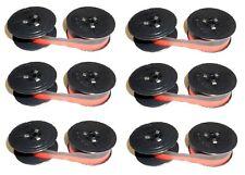 6 x Nastro colorato Gruppo 1 Nylon rosso-nero 13mm Triumph Adler Olympia DIN