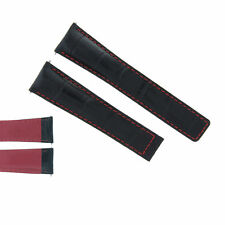 22MM LEATHER BAND STRAP CLASP FOR TAG HEUER CARRERA 16 CV2A10 BLACK RED STIT 3T