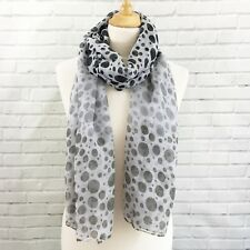 Scarf Pashmina Wrap Black Grey White Polka Dot Spots Shawl