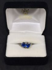 Sterling Silver ESPO Double Heart Blue Sapphire Simple Smooth Band Ring Sz 7
