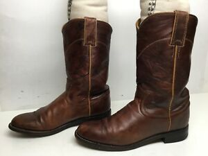 VTG WOMENS JUSTIN WESTERN ROPER BROWN BOOTS SIZE 6 B