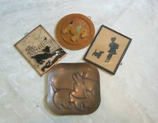 ANTIQUE SCOTTY DOG COLLECTABLES SILHOUETTE PICTURES, CARVED WOOD, & REBAJE COPPE