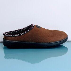DF by DEARFOAMS Memory Foam Hard Sole Mens Size 11 Large Slippers Brown Shoes