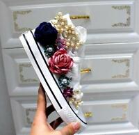 Womens Floral High Top Decor Lace Up Casual Sneakers Beads Shoes Canvas Flats T7