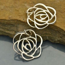 Sterling Silver Art Deco Rose Charm 1920s Tiffany Stained Glass Floral Style 556