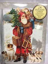 L@@K ~ 24 Punch Studio Old World Santa Snowman Children Christmas Note Cards