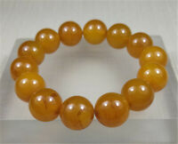 14MM 100% Natural Yellow Ancient Agate Ice Beads Jade Beads Bracelet