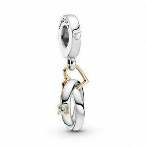 Genuine Pandora Two-Tone Wedding Rings Dangle Charm 799319C01 Gold Silver ALE