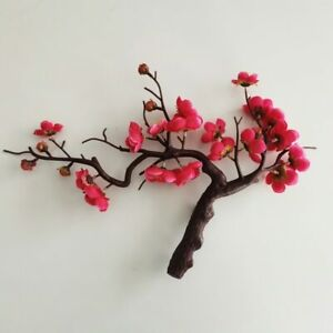 1Pc Home Decor Ornaments Artificial Silk Plum Blossom Branch Fake Flower Bonsai