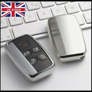 Chrome Silver Key Cover For Land Rover Discovery 4 Sport 5 Button Case Fob t45s