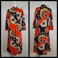 Vintage 1960s Psychedelic Paisley Bold Print Button Up Midi Shirt Dress Size 16