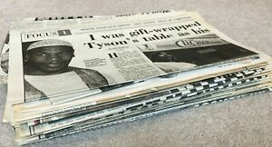 Large bundle of Mike Tyson Newspaper cuttings & pages, mid & late 1990's
