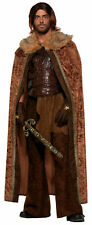 Medieval Men Brown Cape Cloak Adult Halloween King Prince Costume Fun Fur Collar