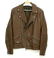 Men Forever 21 Vegan Faux Leather Moto Bomber Jacket Zip Sleeves Brown Size S
