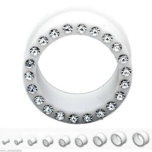"""PAIR-Flexi White w/Clear Gems Double Flare Silicone Ear Tunnels 19mm/3/4"""" Gauge"""