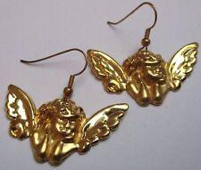 boucles d'oreilles percées couleur or pampille ange en relief R