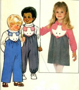 Uncut Sewing Pattern Infants Toddler Overalls Jumper Blouse Dress Size 1 - 4