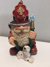 Firefighter Santa Claus Christmas Tree Ornament Hand Painted Dalmatian Ceramic