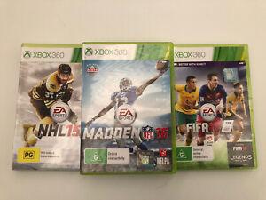 XBOX 360 EA Sports Bundle, FIFA 16, Madden 16, NHL 15