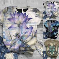 Plus Size Women Short Sleeve 3D Animal Printed O-Neck Tops Tee T-Shirt Blouse
