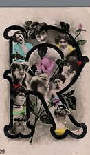 "RPPC,Alphabet Postcard,""R"",Pretty Women Inside the ""R"",Roses & Buds,Used,1909"
