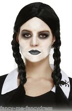 Ladies Wednesday Addams Family Long Black Plaited Fancy Dress Costume Outfit Wig