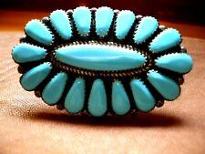 Sterling 2 Ban Old Pawn Southwest Vtg Navajo Turquoise Cluster Ring 8.25sz 18.5g