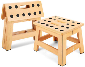 "Jiodux Folding Wooden Stool - 8.8"" Height - Folding Step Stool for Adults  Kids"