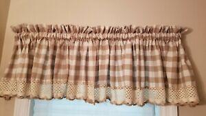 Tan Valance Check Country Farmhouse Curtain 2Pc. 57 X 14 each. w/ Lace edging
