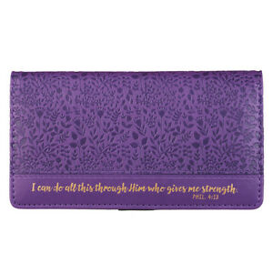 Checkbook Cover I Can Do All Things Through Him, Phil. 4:13(purple & gold)