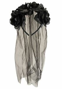 BRIDE BLACK HEADBAND WITH FLOWERS AND VEIL SCARY HORROR HALLOWEEN ACCESSORY