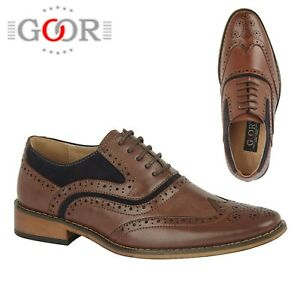 BOYS FORMAL Wedding Lace Up Brown Tan Navy Brogues Shoes Size 11 12 13 1 2 3 4 5