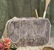 Van Asch Victorian Antique Pearls and Lace Wedding Cosmetic Accessory Pouch Bag