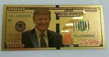 Lot of 10 Donald Trump 24K Gold Plate Dollars $1000 Bill Money Currency Re-Elect