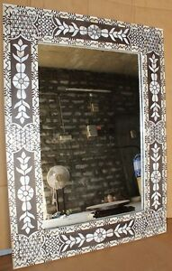 Antique Look Mother Of Pearl Inlay Mirror Frame White