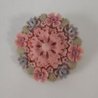 Vintage Floral Early Plastic Pastel Pink Blue Celluloid? Brooch 1950s Fifties