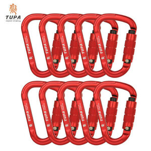 10pcs Climbing Carabiner Twist Lock 25KN HMS Shape Auto Self Lock Aluminum Alloy