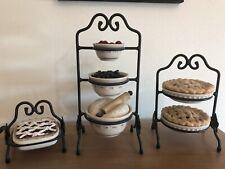 Longaberger Collectors Club Mini Bowls, Pie, Baking Dish & Wrought Iron Stands