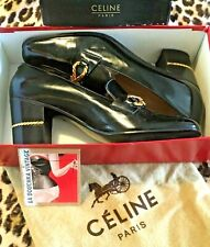 French Celine 1960s Woman Pumps~Black Patent Leather~Gold Chain~Mint Vintage~8.5