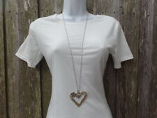 Extra Long Large Silver Heart Pendant Necklace Inch Big Heart Chain Love New