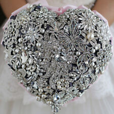 Crystal Heart Wedding Brooch Bouquet Pearls Pink Belt Bridal Silver Flowers NEW