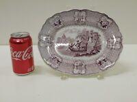 ANTIQUE 1830s Purple Staffordshire Transferware Bologna Adams & Sons Platter