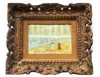 Masterpiece Enamel on Copper Painting Women In Field Wildflowers Signed Framed