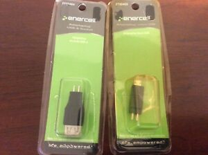 Lot of 2 Adaptaplug Enercel Charging Tips Micro USB and USB-A Socket Black