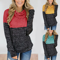 Womens Turtleneck Tops Splice Solid Shirts Tunic Long Sleeve Pullover Sweatshirt