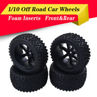 Front Rear Tires Wheels 12mm Hex For Redcat HSP Traxxas 1/10 Off Road Car Black